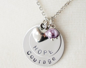 Hope Courage Disk Necklace - Custom with Name - Encouragement - Get Well - Awareness Jewelry Gift