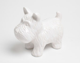 FREE SHIPPING - The White Dog - White Table Top Dog Decoration - Kids Room Decor Animal Statue - Faux Taxidermy Schnauzer Table Top Figurine