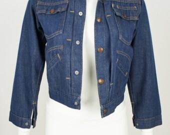 Vintage 1960's Pleated Western Indigo Denim jean Jacket size XS/Youth 12