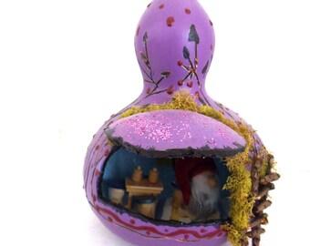Enchanting ...Gourd Fairy House......Fantasy....Purples.....OOAK