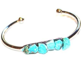 Raw Turquoise Cuff Raw Stone Cuff Turquoise Bracelet Raw Turquoise Bracelet Boho Bracelet Boho Cuff Stacking Bangle Modern Bracelet