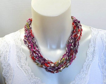 Apple Orchard Ladder Yarn Necklace, Crochet Yarn Necklace, Fiber Jewelry, Lariat Necklace, Ribbon Necklace, Handmade, Ready to Ship