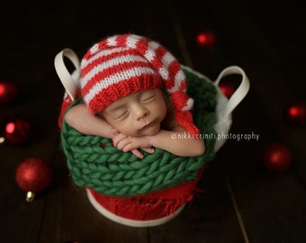 Newborn Striped Elf Knotted Sleepy Hat Photo Prop, MADE TO ORDER