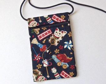 Pouch Zip Bag Navy Blue Japanese CAT Fabric. Cell Phone Pouch. Maneki Neko, lucky cats. Walkers, markets, travel bag. small fabric purse.