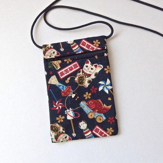Pouch Zip Bag Navy Blue Japanese Cat Fabric Cell Phone Pouch