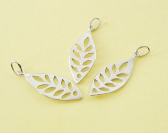 3 Cut Out Leaf Charms, Sterling Silver .925, 9.5x23.7mm, with Closed Jump Ring, SCHP119