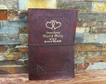 Personalized Journal - Leather Wedding Guest Book - Accessories- Engagement Gift- Couples Gift  (343)