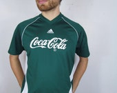 Rare 90s Adidas Coca-Cola Forest Hunter Kelley Green Logo Vintage Soccer Jersey Shirt