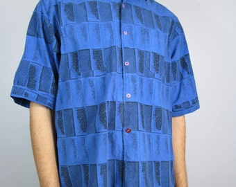 Vintage Abstract New Wave Printed 80s Beach Blue Button Down Shirt