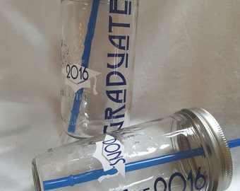 2017 GRADUATE GRADUATION 2017 Custom Grad Drink Glass Mason Jar Graduation Gift Reusable BPA Free Straw Graduation Glass Tumbler (One 24oz)