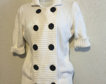 Ralph Lauren Nautical Sweater ~ White with Anchor Buttons
