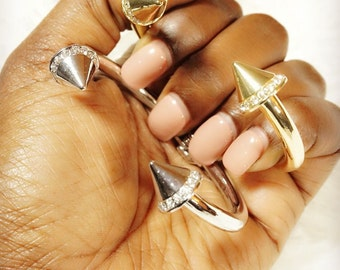 "Gold or Silver ""Mya"" Spiked Bangle Bracelet"