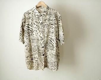 90s versaces style LEOPARD print oversize print blouse shirt