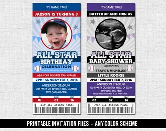 BASEBALL TICKET INVITATIONS All-Star Sports Birthday Party, Baby or Bridal Shower - Any Color/Age - Personalized Printable Files
