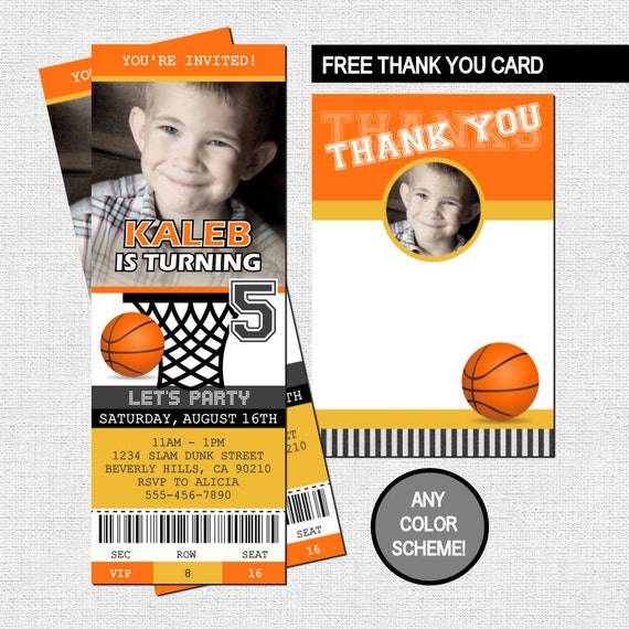 BASKETBALL TICKET INVITATIONS Birthday Party + Thank You Card - (print your own) Personalized Printable Files