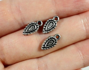Silver Shield Charms 11x5mm Antique Silver Crest Charms, Armor Charms, Tiny Shield Pendants for Jewelry Making, Craft Supplies, 16pcs