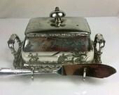 Antique Butter Dish Meriden B. Company Quadruple Plate Silver Pattern 5069 w/ Rogers butter Knife, Serving, Holloware, Dinnerware
