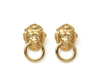 statement vintage 70s/80s Kenneth Jay Lane gold lion doorknocker hoop earrings with crystal eyes