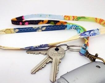 Multicolour lanyard, flash drive necklace, id badge holder, key fob, teacher lanyard, key lanyard, swivel clasp, nurse lanyard, key strap