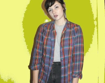 90s Plaid Button Up Shirt