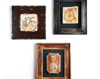 Bicycles/Unicycles Hand Painted on Wood - Home Decor, Wooden Wall Art, Frame, For the Home