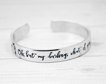 What If You Fly - Be Fearless - Aluminum Cuff Bracelet - Hand Stamped Jewelry - Inspirational For Her - Graduation Gift - Inspiring Present