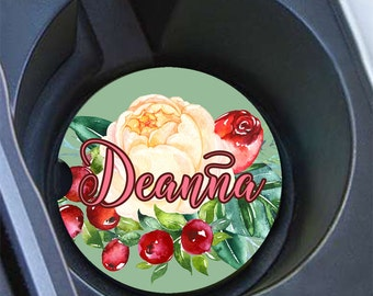 Birthday present for grandma, Monogram floral car coaster, Gray green yellow red, Pretty car cup holder coaster with name, For Her (1670)