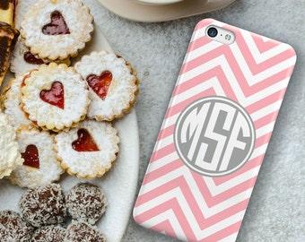 Monogram iphone 6 case, Chevron Iphone 6 Plus case, Preppy iPhone 6s plus case, Pink iPhone 4 case, Durable case, Pink white gray (9764)