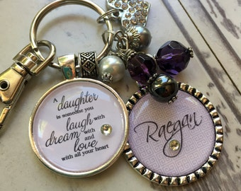 Personalized Daughter keychain a daughter is someone you laugh with dream with and love with all your heart  birthday, wedding, MOB MOG step