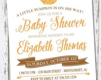 Pumpkin Baby Shower Invite, Fall Invitation,  Baby Shower Invitation, Fall Baby Shower, Boy Pumpkin Shower, Little Pumpkin