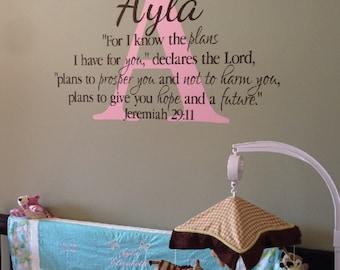 Jeremiah 29:11- Monogram Scripture Christian Religious Bible verse Vinyl nursery wall decor-I know the plans Nursery decor