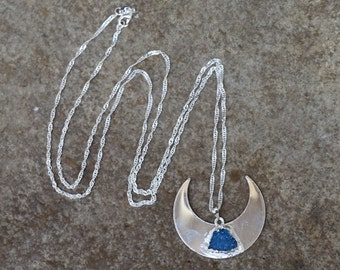 Long Silver Moon Necklace, Long Silver Necklace, Long Druzy Necklace, Crescent Moon Pendant, Celestial Blue Druzy, Boho Gift for Girlfriend