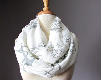 Spring scarf ,  infinity scarf , light Nautical scarf, Anchor scarf , Milky White / Ivory scarf