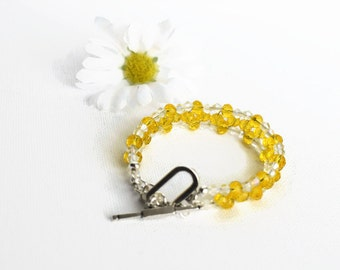 Yellow Glass Beaded Bracelet, Yellow Bracelet, Ladies Beaded Bracelet, Summer Jewellery, Ladies Gift Ideas, Gifts for Her