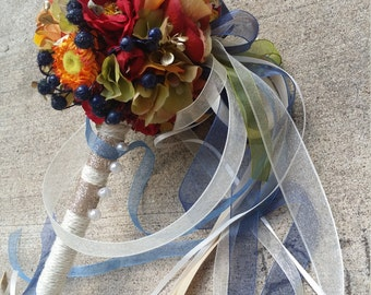 Navy Fall Colors Custom Order Pom Wand