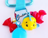 disney royal friends flounder & sebastian  / backpack clip / charm keychain