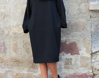 Black Maxi dress/ Long sleeve dress/ Oversized dress/ Midi dress/ Plus size dress/ Casual dress/ Turtleneck dress/ Fall Winter clothing