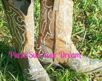 Custom Designed Swarovski Crystals Cowboy Boots - Custom Boots - Swarovski Wedding Cowboy  Boots - Rhinestone Boots - Custom Shoes