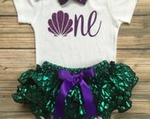 Mermaid outfit/Fish scale bloomers/Little mermaid/Cakesmash/Babyshower Gift/Under the sea/Seashell ONE/First Birthday/Birthday Bloomer