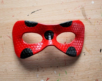 Honeycomb/Plain ladybird leather mask - made-to-order