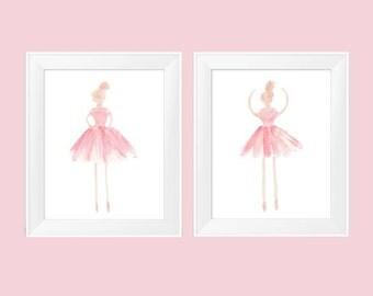 Blush Ballerina, Set of 2-11x14, Ballerina Art, Girls Ballet Decor, Girls Ballet Print, Blush Girls Decor, Ballerina Decor, Blush Ballet Art