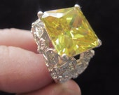 Vintage Giant CZ Statement Ring Yellow-Green Gem Honkin' Big