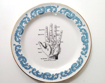 Vintage Fortune Palmistry Hand Palm Plate Altered Art