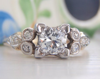 Vintage Diamond Engagement Ring Heaven~ Like a diamond encrusted floral garland adorning your finger. Early Brilliant Cut Diamond Superb VS1