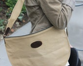 Vintage Large Tan Canvas Crossbody Retro Adventurer Steampunk Boho Circular Tote Messenger Bag