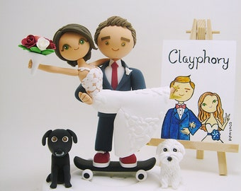Honeymoon Jitters with 2 dogs and Skateboard Custom wedding cake topper