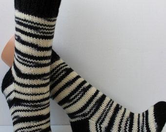 Hand knitted wool socks, funny Zebra socks