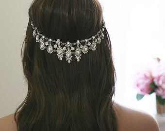 Crystal Bridal Headpiece  |  Vintage inspired Rhinestone Wedding Headpiece | Bridal Hair Piece - Hair Jewelry | Boho Bohemian Hair Accessory