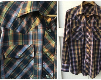 Vintage Lariat Plaid Western Pearl Snap Shirt // Men's Size Large