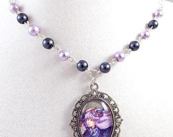 Kawaii Cameo Necklace Cute Witch Handmade Lolita Art Charm Pendant Halloween